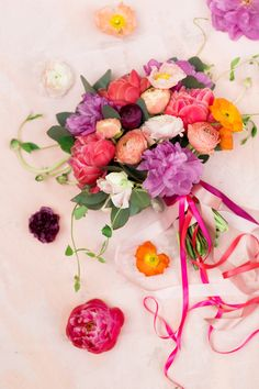 stunning pink and purple wedding bouquet - photo by Amy Nicole Photography