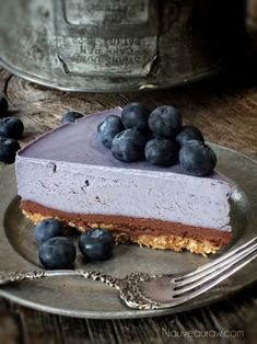 Raw Bountiful Blueberry Chocolate Ganache Cheesecake