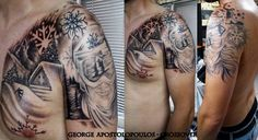 Snowboarding Tattoo Nature, snow, chalet Artist George Apostolopoulos Crossover Tattoo www.crossover.gr