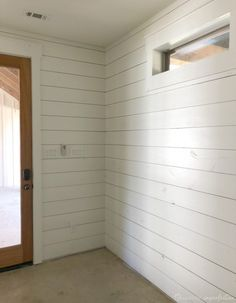 Family room ideas Five tips and tricks for painting shiplap! White Plank Walls, White Shiplap Wall, Shiplap Ceiling, Faux Shiplap, Tips And Tricks, Shiplap Bathroom, Washroom, Neutral Bathroom, Bathroom Canvas