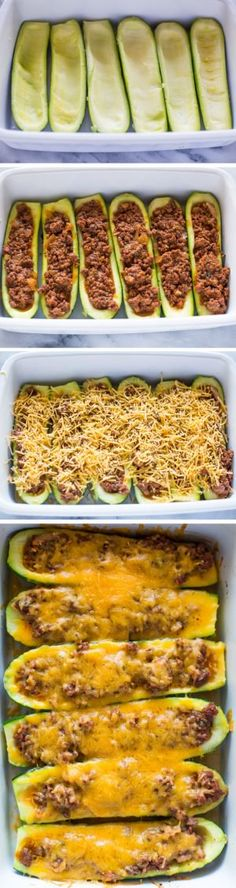 Low Carb Recipes Beef Stuffed Zucchini Boats - Fresh Zucchini stuffed with a hearty meat sauce, topped with Low Carb Recipes, Diet Recipes, Cooking Recipes, Healthy Recipes, Recipies, Healthy Sweets, Atkins Recipes, Healthy Snacks, Chicken Recipes