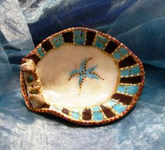 Blue Star Hand Painted on Sea shell From Acre Beach Signed By Artist on Etsy, $39.00