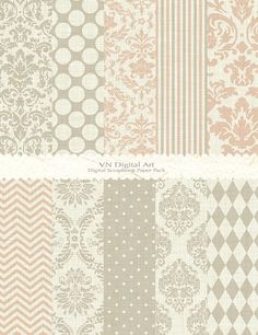 "Damask Basic Textured Digital Paper Pack (8.5x11"") -- Instant Download -- 10 Digital papers -- 608"
