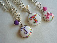By Lollipop Washer Necklace, Pendant Necklace, Monograms, Polymer Clay, Jewelry, Ideas, Diy Kid Jewelry, Jewlery, Bijoux