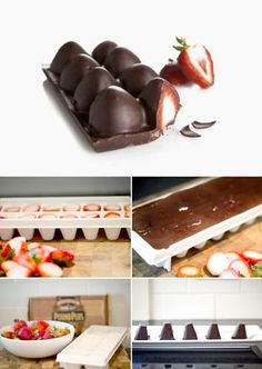 Chocolate Covered Strawberries Made In An Ice Cube Tray