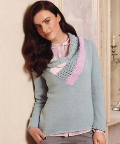 Пуловер с ажурной вставкой - схема вязания спицами. Вяжем Пуловеры на Verena.ru