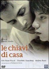 """Las llaves de casa [DVD-Video], dirigida por Gianni Amelio. Adaptación de la novela """"Nacido dos veces"""" de Giuseppe Pontiggia (1934-2003), que trata sobre la relación del autor con su hijo discapacitado. L/Bc DVD 791 LLA http://almena.uva.es/search~S1*spi/?searchtype=Y&searcharg=le+chiavi+de+casa&searchscope=1&SORT=D&extended=0&SUBMIT=Buscar&searchlimits=&searchorigarg=tle+chiavi+de+casa"""