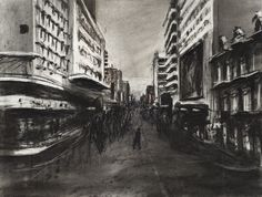 William Kentridge, Drawing for Stereoscope (Crowded Street), 1997 Printmaking, Perspective, Layers, Sketches, Black And White, Street, Gallery, Drawings, Prints