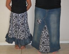 Mother Daughter Matching Clothing, Mommy and Me Long Upcycled Denim Skirts.  Custom Order to your size and desired fabric, Maternity option