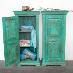 Restored Teak Cabinets, wooden shoes lasts, silk and cashmere pashminas all from India. Support ethical and sustainable trade. Rustic Furniture, Vintage Furniture, Northern Thailand, Indoor Outdoor Living, Interior And Exterior, Teak, Restoration, Recycling, Cabinets