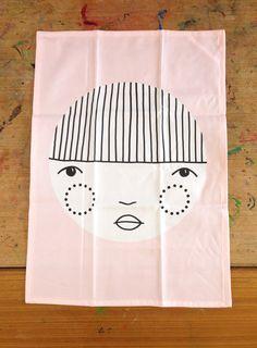 Image of Pinky Tea Towel - Helena Leslie