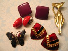 Music City Nashville Vintage Costume Jewelry Lot Tall Cat Butterfly Earrings  #unbranded