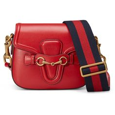 Gucci Lady Web Medium Leather Shoulder Bag (16,530 CNY) ❤ liked on Polyvore featuring bags, handbags, shoulder bags, red, shoulder strap bag, gucci purses, red purse, red leather handbag and genuine leather shoulder bag