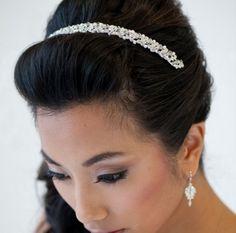 Bridal Headband, Crystal and Pearl Headband, Wedding Headband, Freshwater Pearl Headband - DONNA