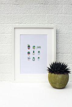 Botanical Print Cactus Print Potted Plant Print Botanical