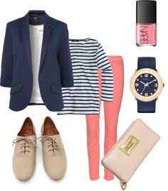 """Preppy Outfit"" Well...I guess my husband was right!! My style is preppy...this really what you would see me in flats, skinny pant, long sleeve...yep that's me!!! Love it!!"