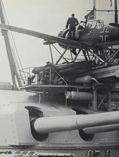Arado 196 float plane mounted above the stern turret of 11 in battleship Gneisenau - prewar photo: this catapult arrangement was later removed as it was too susceptible to blast damage from the guns.