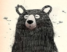 Dreaming Bear - by Daniela Di Gennaro Cute Animal Illustration, Children's Book Illustration, Flat Design Illustration, Animal Drawings, Art Drawings, Scratchboard Art, Bear Art, Art Graphique, Illustrators