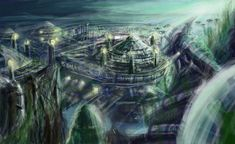 Underwater City build upon old ruins. Post-apocalypse.