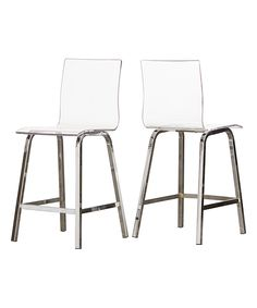 24'' Chrome Acrylic Swivel Counter Height Stool - Set of Two