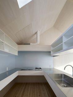 ply kitchen, open shelving