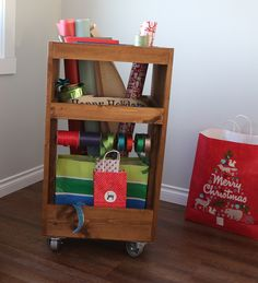 DIY Gift Wrapping Cart. Keep your home organized during the holidays with a stylish and functional gift wrap station!