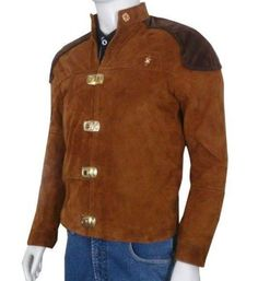 Warriors Viper Pilot Battlestar Galactica Brown Suede Jacket Product Details: External: Real Leather Internal: Viscose lining Front: Buckle Closure Pockets: Two Inside Pockets