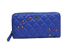 Chanel Beetle Matelasse Zip Around Wallet Original Sheepskin CHA50097 Blue - $179.00