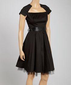 Black Taffeta A-Line Dress