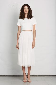 dustjacket attic: Fashion Design | Joie Lookbook: Spring 2014 - fresh white long skirt and crop top