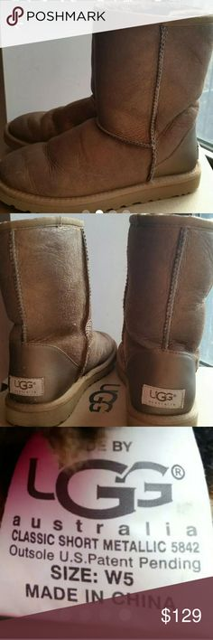 UGG Boots Metallic Beige UGG Boots Classic Short are in excellent condition. No stains or damage. More pics to come. UGG Shoes Ankle Boots & Booties