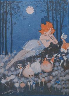 Vintage Children's Print - HILDA COWHAM 1923 The FAIRY Wedding - Girl Piping…