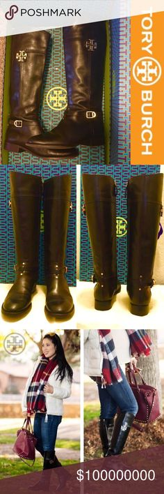 Tory Burch Eloise Tall Riding Boots Great condition with minimal wear. Store return with minimal flaws.  - Logo on the right boot slightly misaligned (4th picture). - Minimal wear on both heels (7th pictures) and will notbe noticeable that much when being worn.   Overall condition 8.5/10 No trade. No lowball please!  Dustbag/box are not included, and subject $15 additional cost each if requested. Tory Burch Shoes Winter & Rain Boots