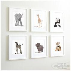 Baby Animal Nursery Art Prints modern minimalist nursery decor - set of six unframed prints - zoo animal jungle animal childrens art (54.00 USD) by PaperLlamas