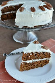 Moist Carrot Cake with Fluffy Vanilla Frosting (gluten & dairy free)