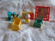 Vintage Fisher Price Little People Nursery Set