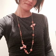 """J Crew Gold Chain Pink Beaded Necklace with Bows Total chain length is 34"""" long. Beads have a light pink and orange hue. 2 satin bow accents are a mix of hot pink, light pink, pale orange and yellow. Comes with original J Crew bag and box! J. Crew Jewelry Necklaces"""