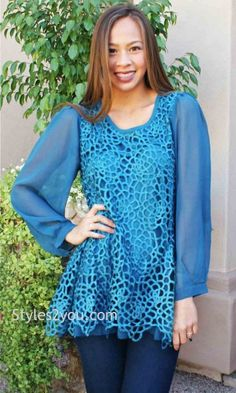 AP Opal Antique Skirted Sleeved Blouse In Turquoise