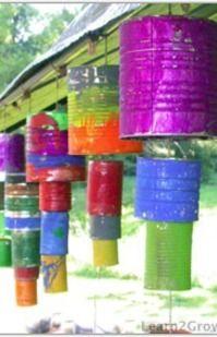 Kid craft: Tin can wind chimes