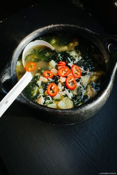 kale and bean autumn soup via Lazy Sunday Cooking