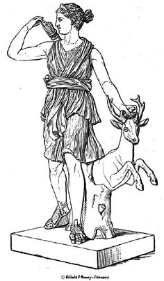 A line drawing of the goddess Artemis. Young girls in Classical Greek society (known as Parthenos) were often feared as being something like her; wild and dangerous.