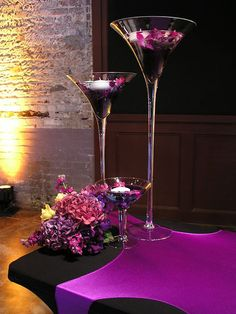 Tall Martini Glass Vases Wedding Centerpiece by PartySpin on Etsy Martini Glass Centerpiece, Floating Candle Centerpieces, Orchid Centerpieces, Centerpiece Ideas, Purple Centerpiece, Glass Vase, Simple Centerpieces, Purple Wedding, Our Wedding