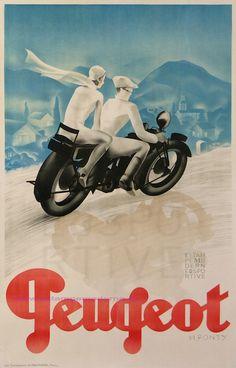 Peugeot Fine-Art Print by M. Ponty at Vintage Wall Vintage Advertising Posters, Vintage Travel Posters, Vintage Advertisements, Retro Poster, Poster Ads, Poster Prints, Art Prints, Old Posters, Art Deco Posters