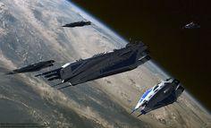 Heavy cruiser SSV Istanbul leading four Trafalgar class battle frigates. The heavy cruiser is a military star ship type which is a Cruiser / Dreadn. Stargate, Mass Effect Reapers, Mass Effect Ships, Lens Flare Effect, Nave Star Wars, Mass Effect Universe, Alien Ship, Sci Fi Spaceships, Heavy Cruiser