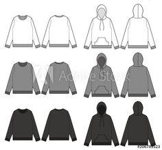 Top sweatshirt hoodie tee fashion vector illustration flat sketches template