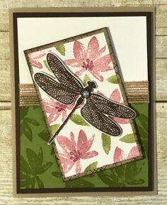 Team swap card by Jennifer featuring the AvantGarden Sale-a-Bration Stamp Set and the Dragonfly Dreams Stamp Set from the Occasions Catalog by Stampin' Up!