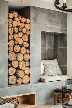 Calgary home radiates with fresh, modern farmhouse style – farmhouse fireplace tile Modern Contemporary Homes, Modern Barn, Modern Farmhouse Exterior, Modern Farmhouse Style, Farmhouse Renovation, Fireplace Surrounds, Fireplace Design, Tile Fireplace, Fireplace Heater