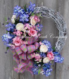 Spring Wreath, Summer Wreath,  Floral Decor, Garden, Elegant , Mother's Day Gift, Wedding, Designer Wreath $189.00