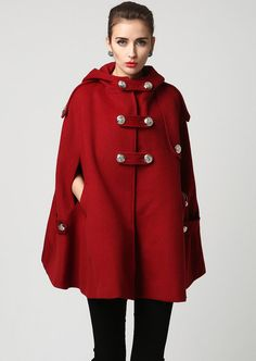 Wool cape winter cape red wool cape womens hooded cape womens wool cape cape coat capes for women plus size cape custom made by xiaolizi Winter Cape, Winter Wear, Wool Cape, Capes For Women, Outerwear Women, Trench Coats, Nylons, Blazers, Plus Size