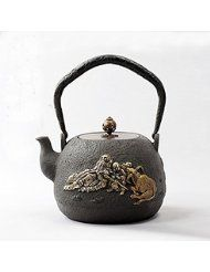 """""""Lao Tzu"""" Chinese Japanese Style Cast Iron Teapot Tetsubin Water Kettle 1.5L Pattern: Lao Tzu. Material: food grade metal imported from Australia. The cover and handle is made by copper."""